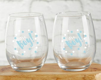 It's a Boy 15 oz. Stemless Wine Glass (Set of 4) - Baby Shower Wine Glass - Baby Shower Party Favors - Baby Boy Favors (30023BOY2)