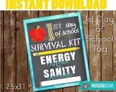 SCHoOL SURVIVAL Kit Tag, Teacher Class Printable, School Printable, School Tag, 1st Day of School Tag, Treat Bag, Instant Download