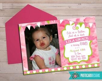 Cute as a Button Birthday Invitation, Photo Invitation, Cute as a Buttom, Pink, Card, 1st Birthday, file, invite, Digital, Party, Watercolor