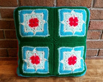 Vintage Decorative Crochet Granny Square Pillow