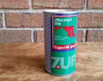 Vintage Maryland State Bicentennial 7UP Can, 1970s Uncle Sam Soda Pop Cans