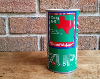 Vintage Texas State Bicentennial 7UP Can, 1970s Uncle Sam Soda Pop Cans