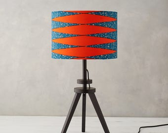 Lampshade African Wax Print   Drum Lampshade   Blue Geometric Lampshade   Lamp  Shades   Burnt