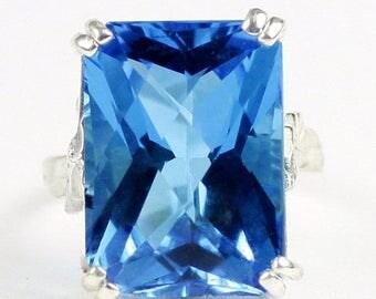 On Sale, 20% Off, Swiss Blue Topaz, 925 Sterling Silver Ring, SR039
