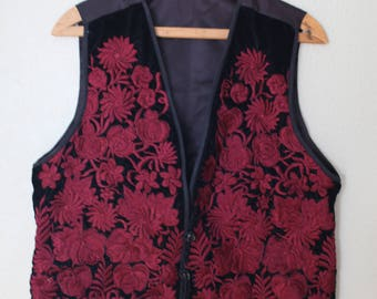 vintage black and embroidered maroon rose velvet vest