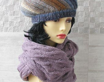 Boho knit Scarf, hand knit shawl, oversized Cowl, Circle knitwear, women's Fashion scarves, Lavender Spring Trends