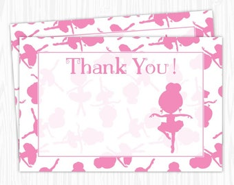 Ballerina Party 4x6 Thank You Card, Sweet Pink Ballerina Thank You Card, Printable DIY, You print, You cut, INSTANT DOWNLOAD