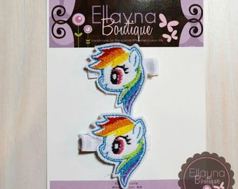 Felt Hair or Planner Clips - My Little Pony, Rainbow Dash Inspired