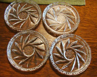 Vintage cut pressed glass coaster set, glass coasters, set of 4