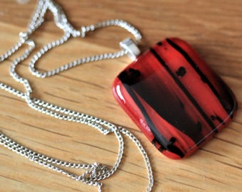 Red and Black Fused Glass Pendant