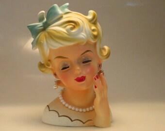 Vintage retro kitsch Rubens Japan pretty lady blonde with bow 489 ceramic lady head vase headvase figurine