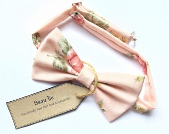 mens floral bow tie, rose print bow tie, floral bow tie, linen bow tie, pink bow tie, wedding bow tie