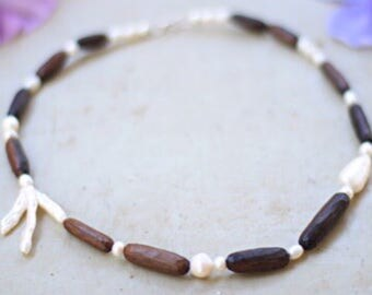 Bridal necklace / rustic wedding jewelry / pearl recycled wood necklace
