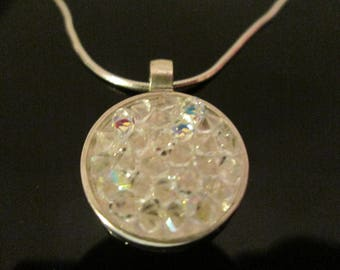 "Swarovski Crystal AB  Rocks Pendant Set In Sterling Silver with 18"" Sterling Chain"
