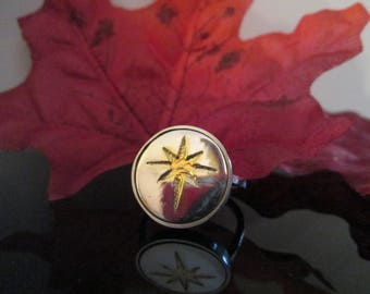 Star Of Bethlehem Sterling Ring with  14K Gold Star Feature