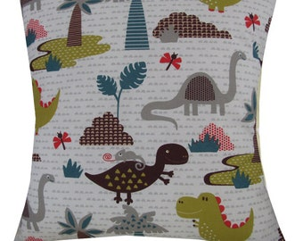 "Designer handmade childrens boys dinosaur island green 16 - 24"" cushion cover"