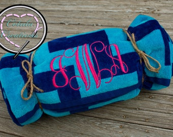 Deluxe Oversize Personalized Beach Towel - Monogrammed Beach Towel - Monogrammed Gift - Bridesmaid Gift - Teen Gift - Wedding GIft