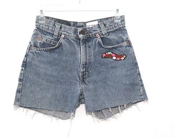 Vintage 80s jean shorts cut offs levis harley davidson patch