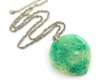 Vintage Green Flower Pendant, Lucite, Chain