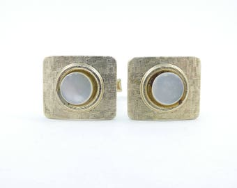 Vintage Mother of Pearl Cuff Links, Detailed, Square, L26