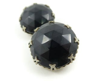 Vintage, Black Glass Earrings, Round, Faceted, Clip Ons, STE61