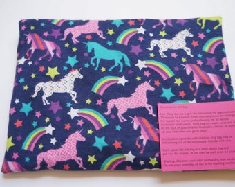 Microwaveable Rice Bag, Heating Pad with Removable cover - Unicorns