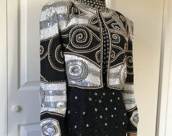 1990s Deco Bolero Cropped Jacket Beaded Silk