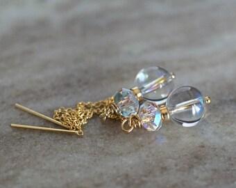 Swarovski elements earrings, Swarovski Aurora Borealis gold threader earrings, Swarovski jewelry, Swarovski ear threads, bridal earrings