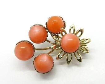 ON SALE! Orange Gold Tone Flower Brooch Vintage Moonglow Pin Coral-Orange Lucite Bouquet Brooch