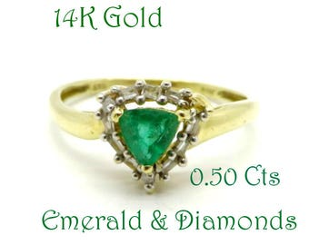 Emerald - 14K Gold Colombian Emerald & Diamond Ring, Vintage Trillion Cut Emerald Ring, Engagement Ring, FREE SHIPPING
