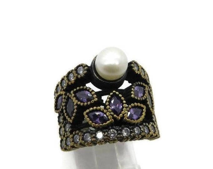 Amethyst Topaz Pearl Ring, Vintage Sterling Silver Statement Ring, Size 8