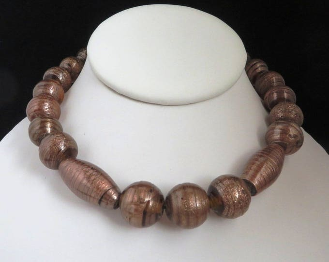 Frosted Glass Bead Necklace, Vintage Cocoa Brown Glass Choker