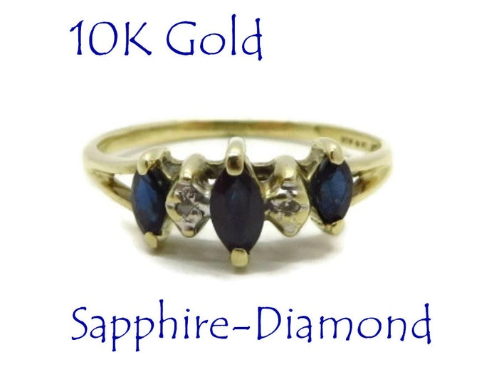 Sapphire - Vintage Sapphire Diamond Ring, 10K Gold Marquise Sapphire Estate Wedding, Anniversary Ring, Size 5