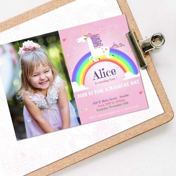 Unicorn Birthday Invitation WITH PHOTO
