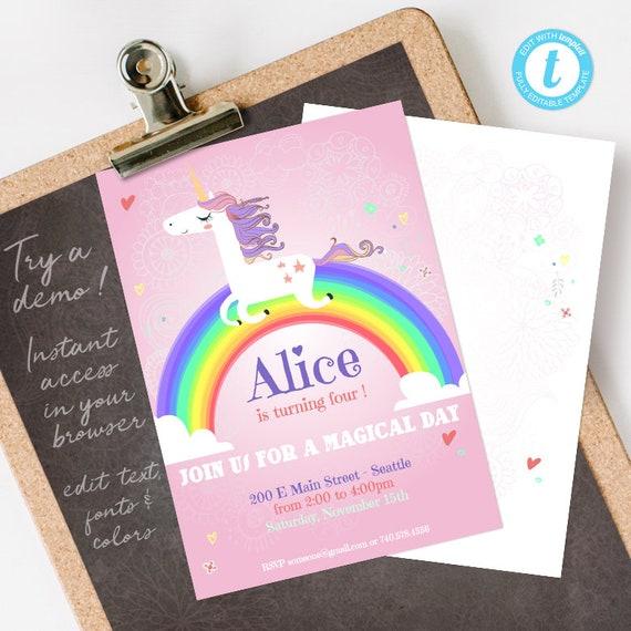 Rainbow Unicorn Birthday Party Invitation Template, digital printable invite INSTANT DOWNLOAD editable PDF