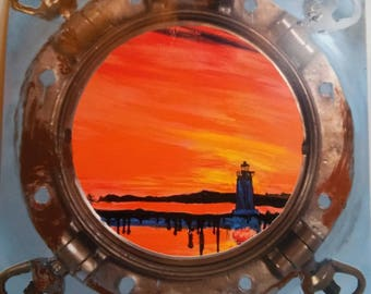 Lighthouse in Martha's Vineyard viewed from porthole