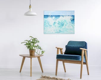 "Ocean Wave Painting Art Acrylic Original // ""Champagne Sea"" 18 x 24"" Canvas"