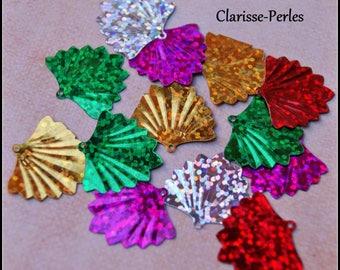 30 glitter sequin metal fan sachet multicolored 20x19mm