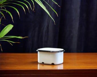 White and Black Enamel Box - Enamel Refrigerator Box - Small Metal Box - Enamelware - Vintage Enamelware Food Storage - Farmhouse