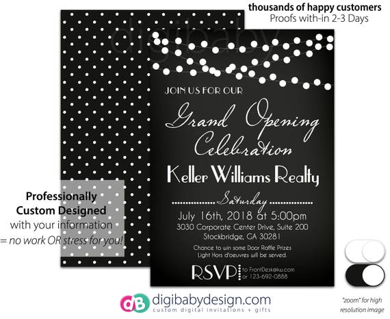 Beautiful Chalkboard Event Open House Invitation | Grand Opening Invite  SB34