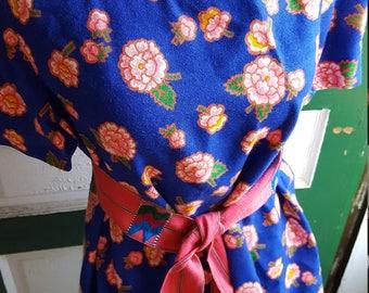 Vintage Blue Floral Blouse Top with Sash BOHO Top Hippie Summer
