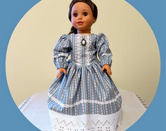 "Colonial American Doll Dress with Cameo/Historical 18 inch Doll Dress/Blue White AG Doll Clothes/18"" Girl doll outfit/Civil War Day Dress"