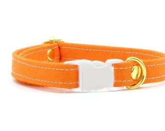 Orange Cat Collars with Breakaway Safety Buckle -Sunny Yellow, Orange, Red Kitten Size Available