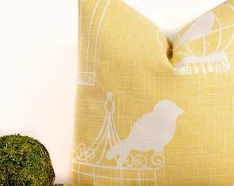 SALE ENDS SOON Yellow Bird Cage Throw Pillow, Yellow Accent Pillow, Interior Design Ideas, 20 x 20