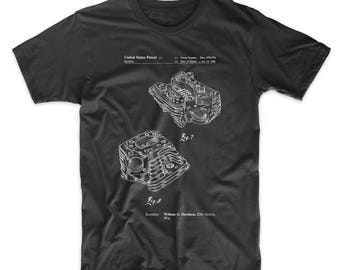 Harley Davidson Engine Head Patent T Shirt, Engine Shirt, Harley Davidson T Shirt, Motorcycle Parts, Mechanic Gift, PP0870