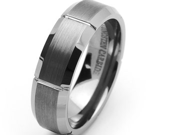 7MM Comfort Fit Tungsten Carbide Wedding Band Beveled Edges Groove Ring(JDTR001)