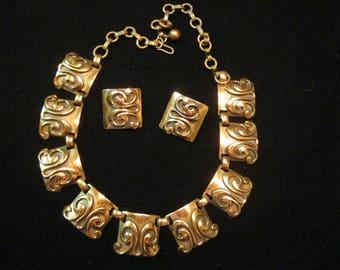 1940s Retro Copper Necklace and Earrings Art Nouveau Design