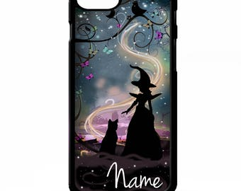 Wicked Witch Black cat magic silhouette personalised name art cover for iphone 4 4s 5 5s 5c SE 6 6s 7 8 plus X phone case