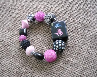 Mahjong Bracelet - Black Tile Mahjong Bracelet - Mahjong Jewelry - Mahjongg Gift - Oriental Gift - Black Mahjong - Gift for Her