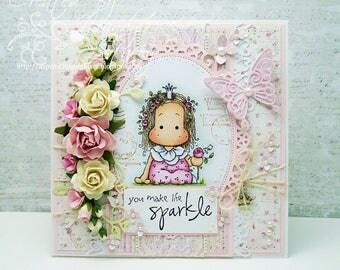 OOAK Magnolia Rose Princess Tilda Handmade Card